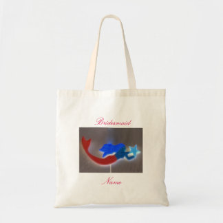 Blue-haired mermaid bridesmaid tote bag