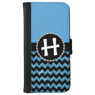 Blue Half Glitter Chevron, Diamond Ribbon Flap iPhone 6 Wallet Case