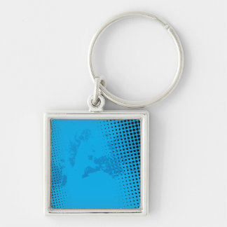 Blue Halftone and Paint Splatter Key Chains