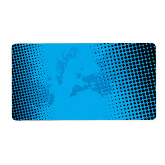 Blue Halftone and Paint Splatter Label