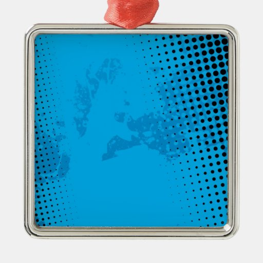 Blue Halftone and Paint Splatter Christmas Tree Ornaments