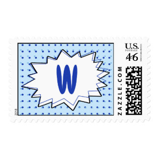 Blue Halftone Comic Monogram Postage Stamp