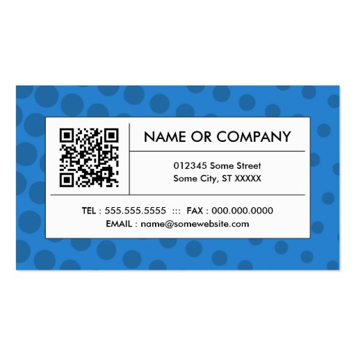 blue halftone QR code Business Card Template