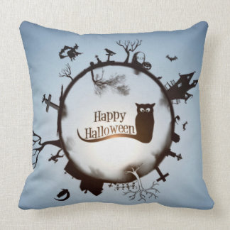 Blue Halloween Dekokissen Throw Pillow