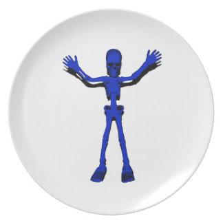 Blue Halloween Skeleton Party Plate