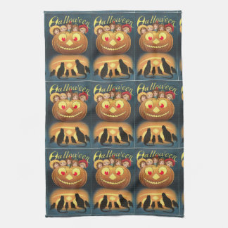 Blue Halloween Vintage Cats Jack O'Lantern Kitchen Towel