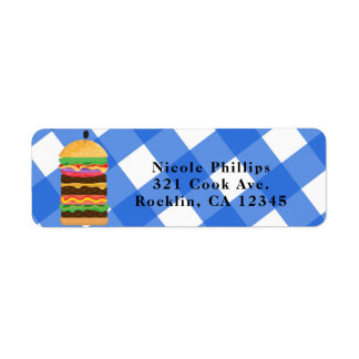 BBQ - Blue Hamburger Summer Cookout Barbecue Invitation Label