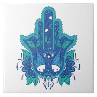 Blue Hamsa Design Ceramic Tile