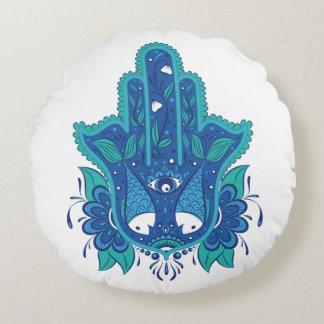 Blue Hamsa Design Round Pillow