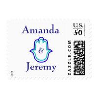 blue hamsa hand wedding postage