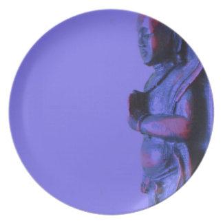 Blue Hand Carved Buddha Melamine Plate