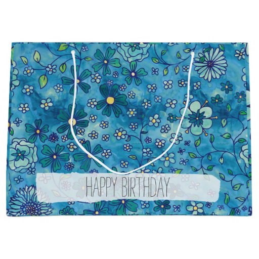 Blue Hand Drawn Floral Watercolor Pattern Large Gift Bag   Zazzle