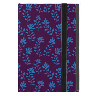 Blue hand drawn flower branch pattern on red cover for iPad mini