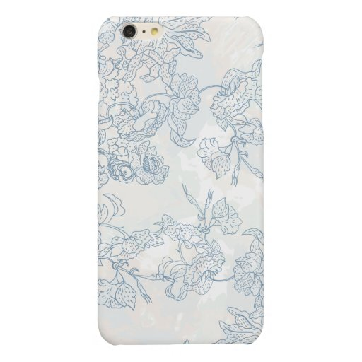 BLUE HAND-DRAWN FLOWERS SILHOUETTES GLOSSY iPhone 6 PLUS CASE