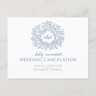 Blue hand drawn leaf monogram wedding cancelation announcement postcard