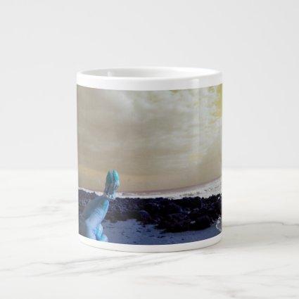 blue hand holding barnacle yellow sky jumbo mugs