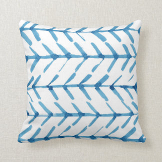 Blue hand-painted arrows Polyester Throw Pillow