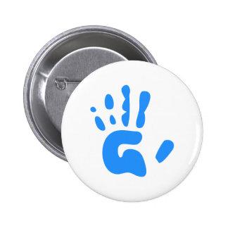 Blue Hand Print Button