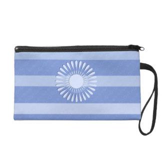 """Blue handbag with wrist-strap decoration """"Fleur """" Wristlet Purse"""