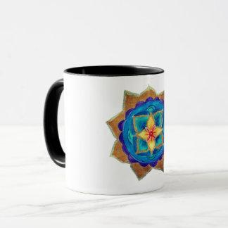 Blue handpainted mandala art Ringer Combo Mug