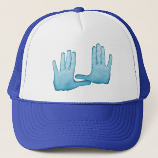 Blue hands are folded into the gestures trucker hat