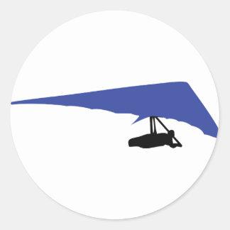 blue hang-glider icon classic round sticker
