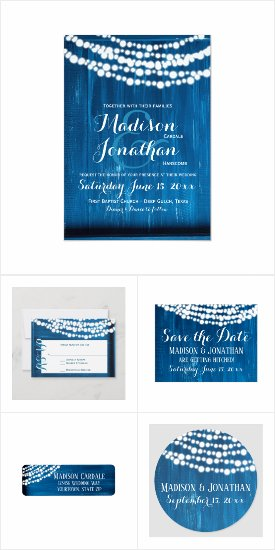 Blue Hanging Fairy Twinkle Lights Wedding Invites