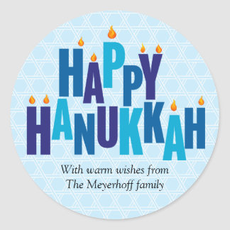 Blue Hanukkah Candle Lights Classic Round Sticker