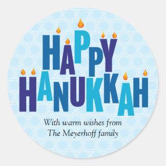 Blue Hanukkah Candle Lights Sticker
