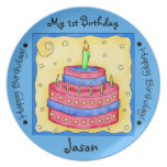 Blue Happy 1st Birthday Cake Art Name Personalized Dinner Plate