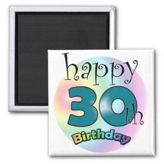 Blue Happy 30th Birthday Refrigerator Magnets