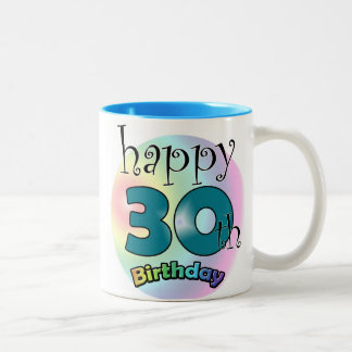 Blue Happy 30th Birthday Two-Tone Coffee Mug