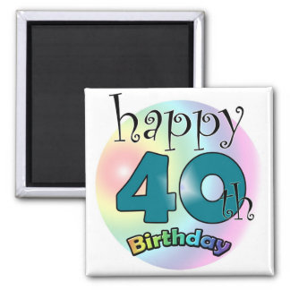 Blue Happy 40th Birthday 2 Inch Square Magnet