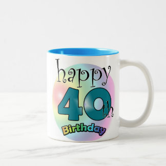 Blue Happy 40th Birthday Two-Tone Coffee Mug