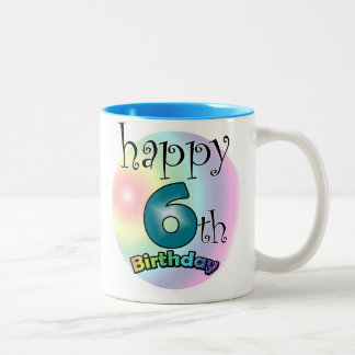 Blue Happy 6th Birthday Two-Tone Coffee Mug