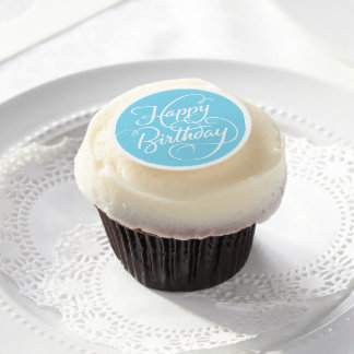 BLUE HAPPY BIRTHDAY | EDIBLE FROSTING EDIBLE FROSTING ROUNDS
