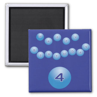 Blue Happy Birthday for Boy Age 4 2 Inch Square Magnet