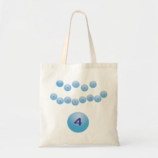 Blue Happy Birthday for Boy Age 4 Tote Bag