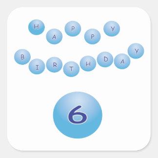 Blue Happy Birthday for Boy Age 6 Square Sticker