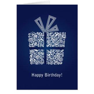 Blue happy birthday mens boys card with a gift box