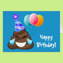Blue Happy Birthday Party Poop Emoji Card
