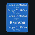 "Blue Happy Birthday Song Premium Flexi Magnet<br><div class=""desc"">Personalize this fun magnet for the special birthday person in your life!</div>"