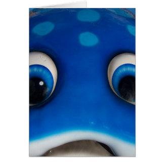 Blue Happy Cartoon Eyes on Fiberglass Toy Card