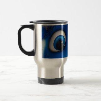 Blue Happy Cartoon Eyes on Fiberglass Toy mug