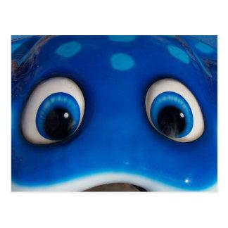 Blue Happy Cartoon Eyes on Fiberglass Toy Postcard