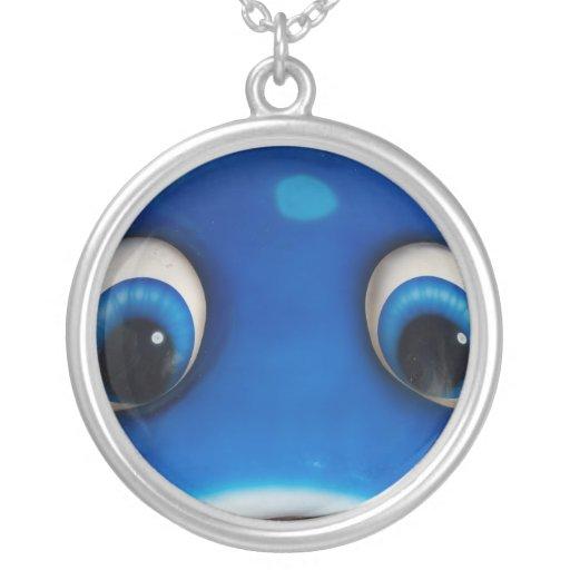 Blue Happy Cartoon Eyes on Fiberglass Toy Round Pendant Necklace