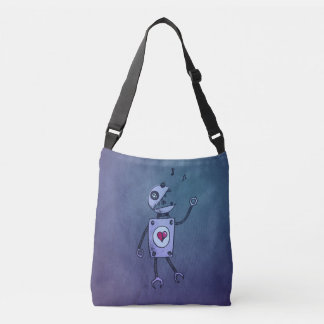 Blue Happy Cartoon Singing Robot Tote Bag
