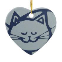 Blue Happy Cat Sleeping Ceramic Ornament