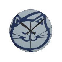 Blue Happy Cat Sleeping Round Clock