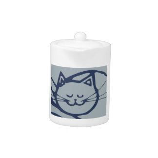 Blue Happy Cat Sleeping Teapot